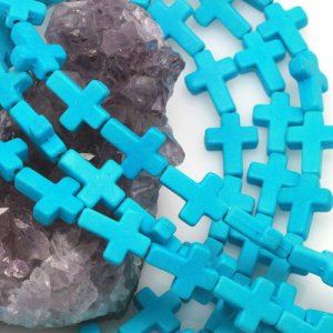 12x16mm Sleeping Beauty Blue Howlite Turquoise Loose Spacer Beads Cross 15.5 inch strand