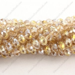 Chinese Crystal Rondelle Beads, 6x8mm, S Champange, about 72 beads