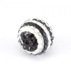 22mm Chinese Acrylic Crystal Disco Bead, black white, 22mm 1 bead