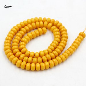 100Pcs 6x3.5mm Smooth Roundel Shape Glass Beads, rondelle glass beads strand, hole 1mm, gold yellow