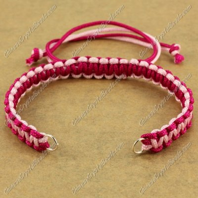 Pave chain, nylon cord, ruby and pink, wide : 7mm, length:14cm