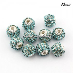 alloy pave disco beads, 10mm, 1.5mm hole, 60 crystal stone, aqua, sold 10 pcs