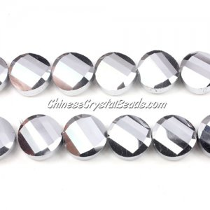 Crystal Twist Bead Strand, 14mm, silver, 10 beads