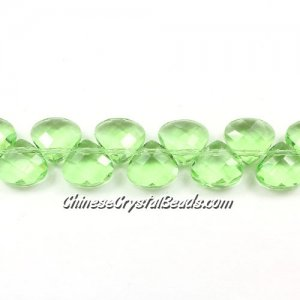 Crystal Flat Briolette beads strand ,9x10mm, lime green, 20 beads