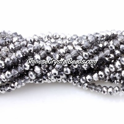 140Pcs 3x4mm Chinese rondelle crystal beads, 3x4mm, dark half silver, about 150 beads