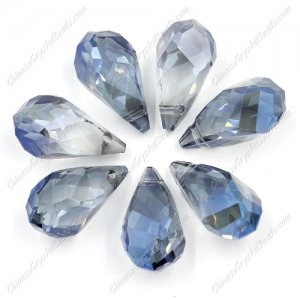 10Pcs Crystal helix Teardrop bead Pendant, 12x22mm, hole:1.5mm, magic blue