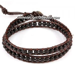 Beaded Wrap Bracelet, 4mm Black Frosted agate beads, 12.5inch