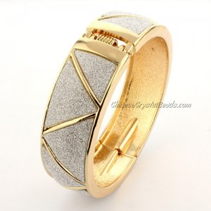 Womens Hinged Bangle Bracelet, alloy gold plated, 20mm wide, Length:60mm