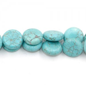 4.5x13.5mm Flat Round Turquoise Gemstone, hole:1mm, 15 inch/strand, 29PCs/Strand