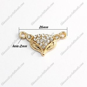 Pave Crystal Links Charms Fox, gold plated alloy, 26mm, 1 pcs