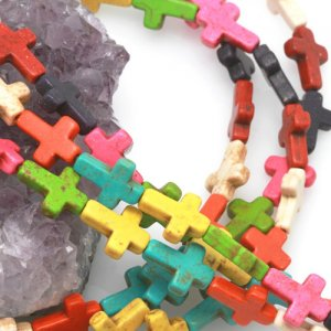 12x16mm multicolor Howlite Turquoise Loose Spacer Beads Cross 15.5 inch strand
