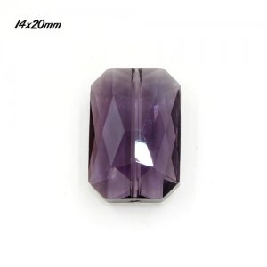 Chinese Crystal Faceted Rectangle Pendant , violet, 14x20mm, 9 beads