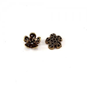 Bead cap, antiqued Gold-finished inchpewterinch (zinc-based alloy), 9x3mm flower, Sold per pkg of 50pcs.