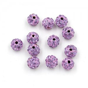 50pcs, 8mm clay Pave beads, hole: 1mm, light purple