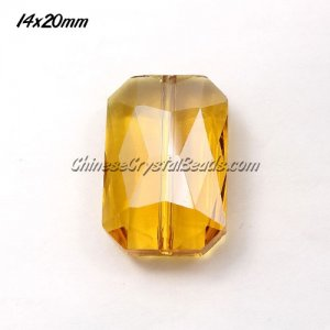Chinese Crystal Faceted Rectangle Pendant , topaz, 14x20mm, 9 beads
