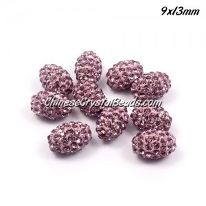 Oval Pave Beads, 9x13mm, Clay, light purple, sold per 10pcs bag