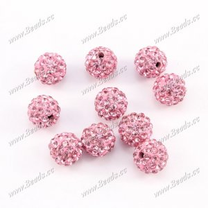 50pcs 10 pave clay disco beads, light Pink, hole: 1.5mm