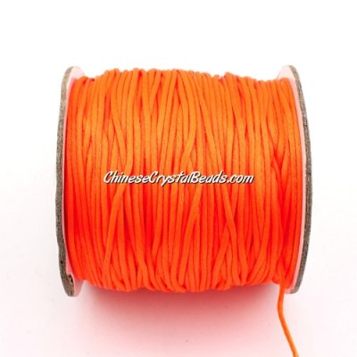 1.5mm Satin Rattail Cord thread, #20,(orange neon color) 80Yard spool