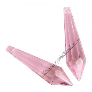 Chinese Crystal Ice Drop Prism Pendant, pink, about 60mm,1 pc
