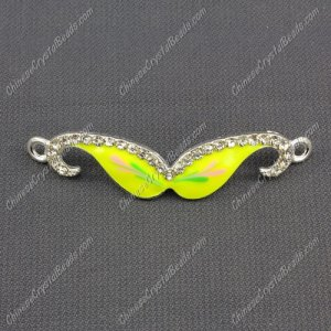 Pave accessories, mustache, 13x55mm, yellow and flower, Sold individually.