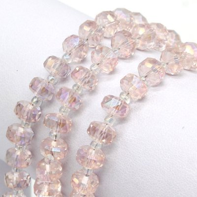 pink AB 5x8mm angular crystal beads
