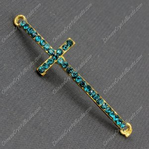 Pave cross Charms, alloy gold-plated, 14x50mm, hole: 2mm, indicolite, 1pcs