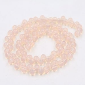 100Pcs 6mm rondelle earring shaped glass beads, hole: 2mm, opal pink