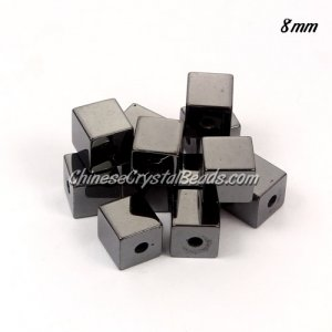 Grade A cube hematite beads 8x8x8mm, hole size 2mm, 12 pcs
