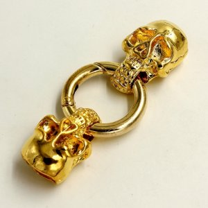 Clasp, skull End Cap, gold plated inchpewterinch (zinc-based alloy),62x24mm Hole 11x5mm, Sold individually.