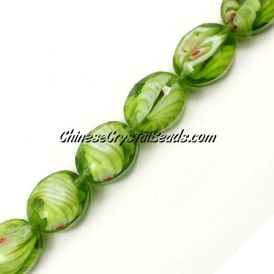 Millefiori faceted oval glass beads, lime green, 20x24mm, 1 beads