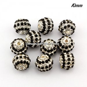 alloy pave disco beads, 10mm, 1.5mm hole, 80pcs balck and white crystal stone, silver plated, sold 10 pcs