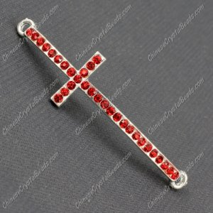 Pave cross Charms, alloy silver plated, 14x50mm, hole: 2mm, red, 1pcs