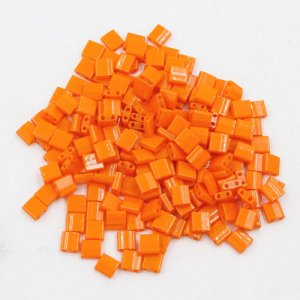 Chinese 5mm Tila Square Bead, opaque orange red, about 100Pcs