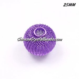 25mm purple Mesh Bead, Basketball Wives, 10 pieces