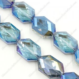 10Pcs Faceted Polygon Hexagon Glass Crystal, blue light, hole:1.5mm (2 size)