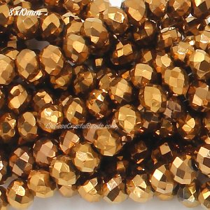 8x10mm Chinese Crystal Rondelle Strand, copper 70 pieces