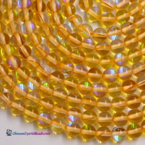 Matte yellow Mystic Aura Quartz Beads 6/8/10/12mm Rainbow Holographic Bead Synthetic Moonstone 15.5inch