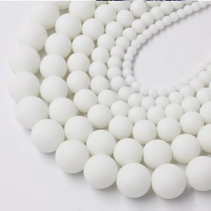 White Frosted Glass Beads Polished 4mm 6mm 8mm 10mm 12mm 14mm 16mm, 15 Inch