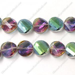 Crystal Twist Bead Strand, 14mm, purple and green light, 10 beads