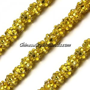 Chinese Crystal Disco Bead Acrylic golden 8mm(inside), 30 beads