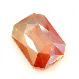 Chinese Crystal Faceted Rectangle Pendant orange light, 24x33mm, 1pcs