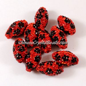 Oval Pave flower Beads, 11x18mm, Clay, Red, sold Sold individually.