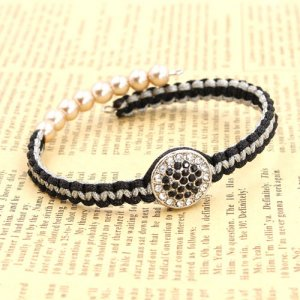 The finely woven Memory Wire Bracelet, black white alloy round flat pave beads, #017