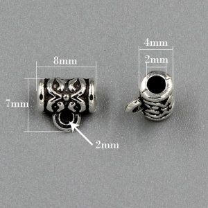 Bail Connectors, antiqued silver-finished inchpewterinch (zinc-based alloy), 7x8mm . Sold per pkg of 50pcs