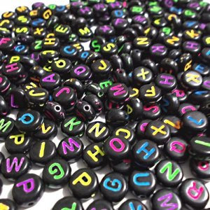 100Pcs Mixed Acrylic Flat Round Disc Alphabet Letter Spacer Beads 7x4mm, black and multi color letter