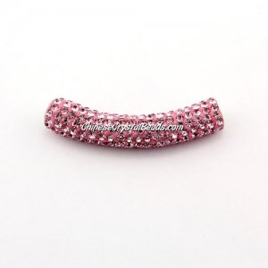 Pave Crystal Pave Tube Beads, 45mm, 4mm hole, pink, sold 1pcs