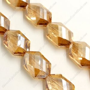 10Pcs Faceted Polygon Hexagon Glass Crystal, Golden Shadow, hole:1.5mm(2 size)