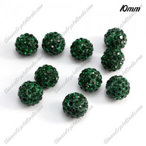 50pcs, 10mm pave disco beads, pave clay beads, Emerald, hole: 1.5mm