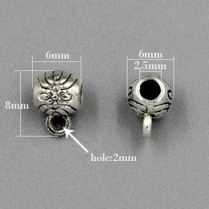 Bail Connectors, antiqued silver-finished inchpewterinch (zinc-based alloy), 6x8mm . Sold per pkg of 50pcs