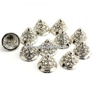 Pave crystl Spike Beads, 9x11x11mm, silver, 10 pieces